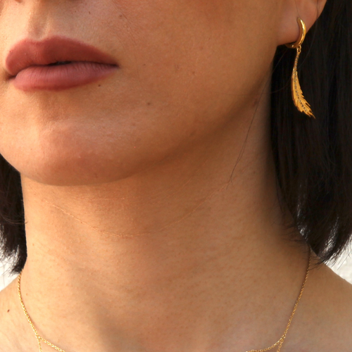 24kt Yellow Gold Plated Phoenix Feather Hoop Earrings  ,[product vendor],JewelStreet