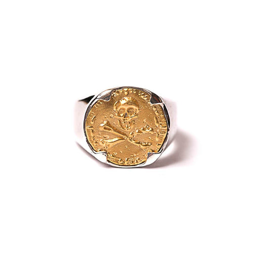 Yellow Gold Plated Pirate Skull & Crossbones Ring ,[product vendor],JewelStreet