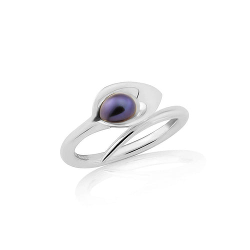 Small Silver Lily Pearl Ring ,[product vendor],JewelStreet