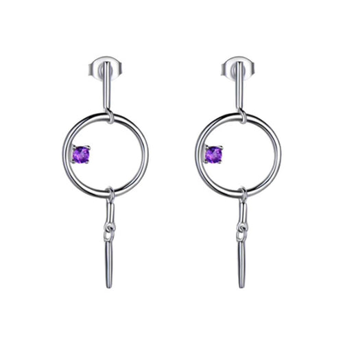 Sterling Silver Geometric Dangle Earrings With Amethyst ,[product vendor],JewelStreet