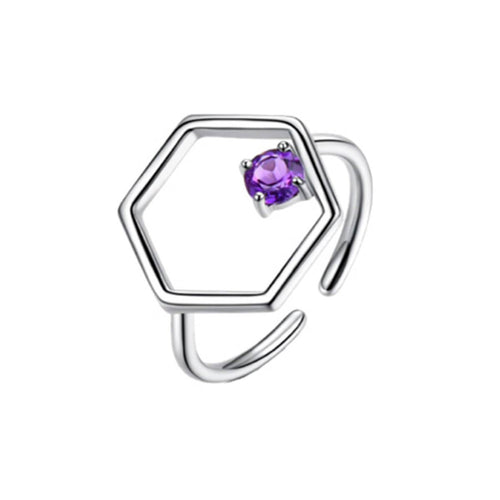 Sterling Silver Linear Ring With Amethyst ,[product vendor],JewelStreet