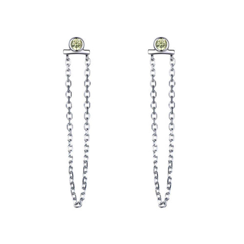 Sterling Silver Stud & Chain With Diopside ,[product vendor],JewelStreet