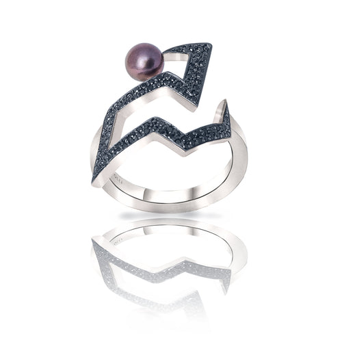 Sterling Silver Snaketric Edgy Black Diamond Ring ,[product vendor],JewelStreet