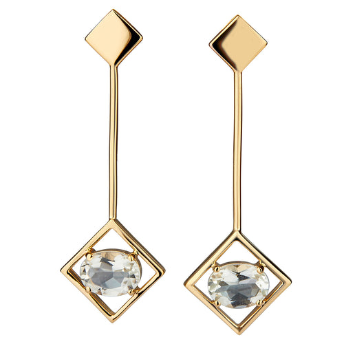 14kt Yellow Gold Plated Sterling Silver Green Amethyst Sparkling Big Earrings ,[product vendor],JewelStreet