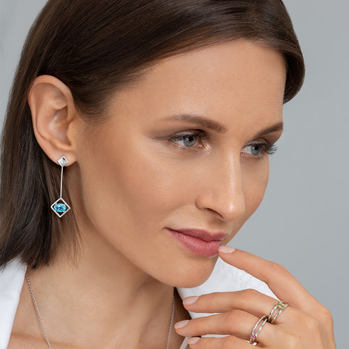 Sterling Silver Blue Topaz Sparkling Big Earrings ,[product vendor],JewelStreet