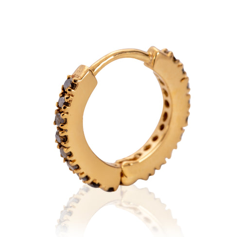 9kt Yellow Gold Tiny Hoops With Black Diamonds ,[product vendor],JewelStreet