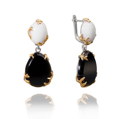 Gold Plated Sterling Silver Earrings With White Opal & Black Agate ,[product vendor],JewelStreet