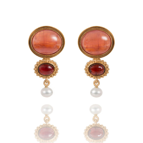 Gold Plated Silver Earrings With Rhodochrosite & Garnet  ,[product vendor],JewelStreet