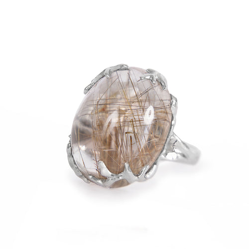 Sterling Silver Ring With Rutilated Quartz ,[product vendor],JewelStreet