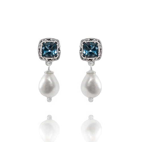 Sterling Silver Stud Earrings With Topaz & Pearl  ,[product vendor],JewelStreet