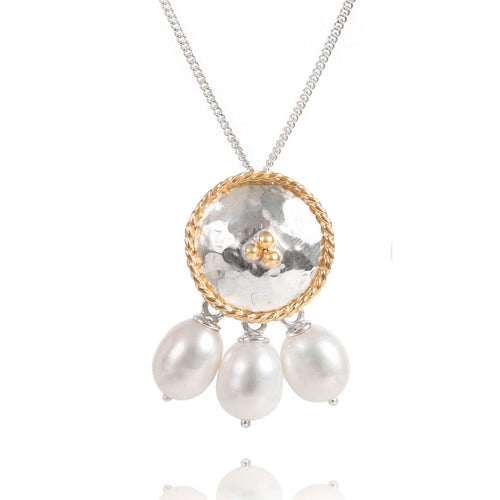 Sterling Silver Pendant With 3 White Pearls  ,[product vendor],JewelStreet