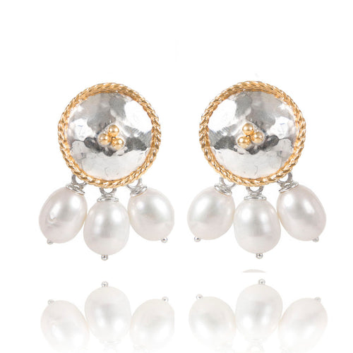 Sterling Silver Round Earrings With White Pearls  ,[product vendor],JewelStreet