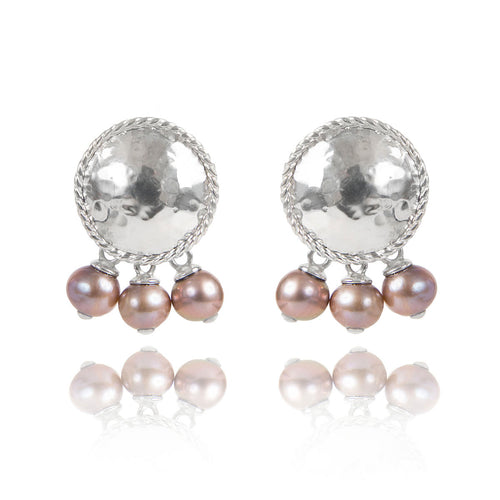 Sterling Silver Textured Earrings With Pearls  ,[product vendor],JewelStreet