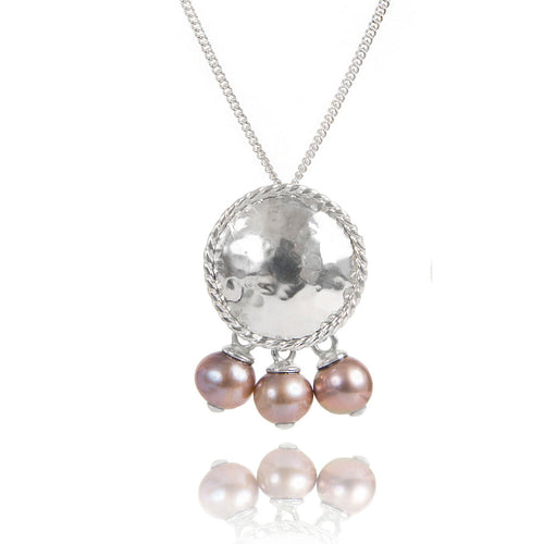 Sterling Silver Round Textured Pendant With Pearls  ,[product vendor],JewelStreet