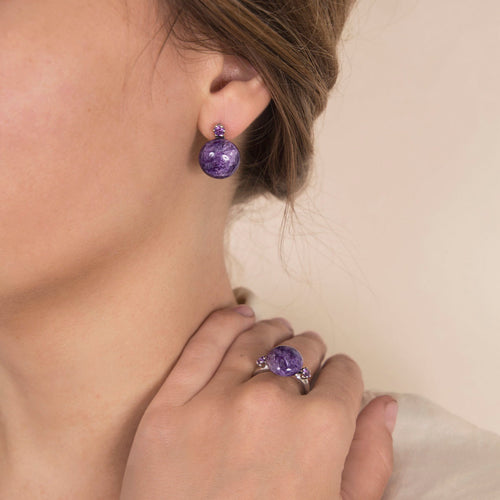 Sterling Silver Charoite and Amethysts Earring  ,[product vendor],JewelStreet