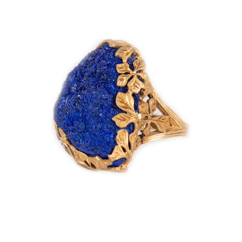 Gold Plated Azurite Band Ring With Matte Flowers   ,[product vendor],JewelStreet