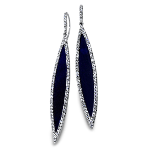 18kt White Gold Earrings With Lapis Lazuli  ,[product vendor],JewelStreet