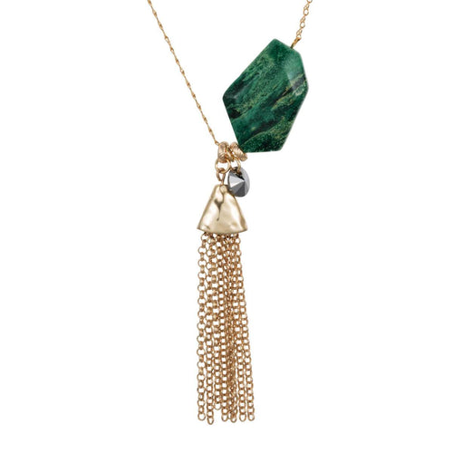 Yellow Gold Plated Malachite Nugget Necklace