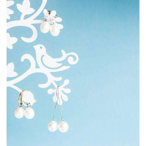 Long Drop White Pearl 9kt White Gold Earrings ,[product vendor],JewelStreet EU