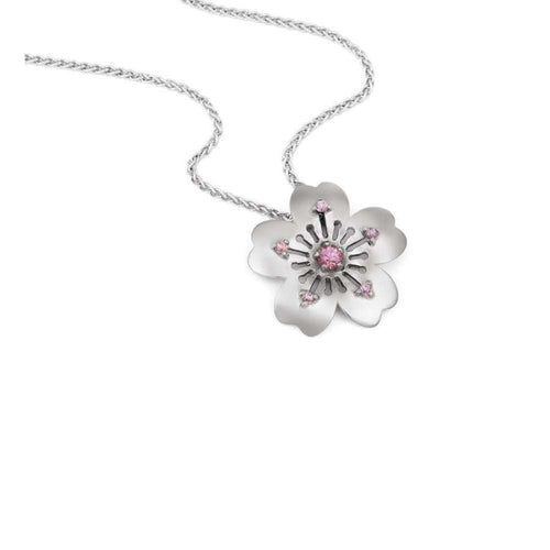 18kt White Gold Sakura Pendant-September Rose-JewelStreet EU