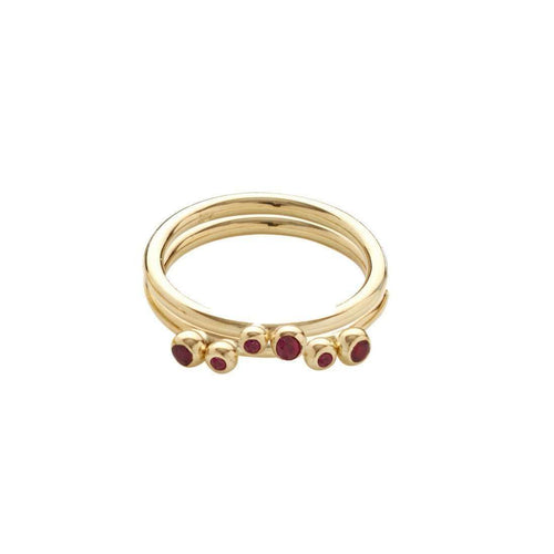 Aestivation Double Ruby Stacking Ring-Yen Jewellery-JewelStreet EU
