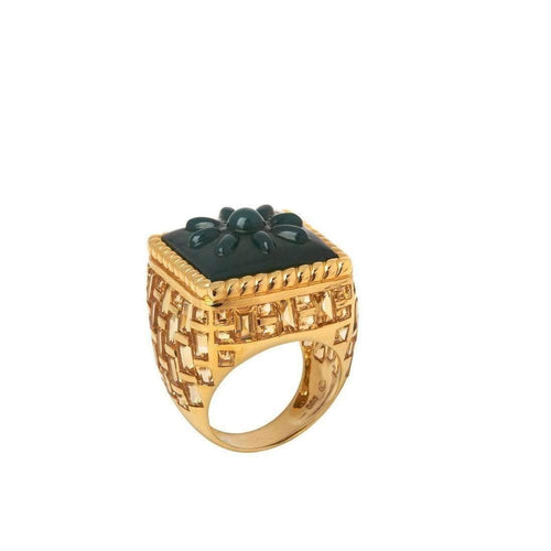 Basket-Weave ring in green agate-Stenmark-JewelStreet US