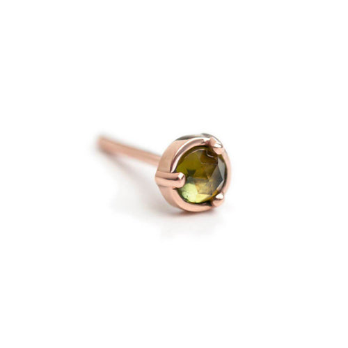 14kt Rose Gold Wonder Single Stud Earring With Green Tourmaline