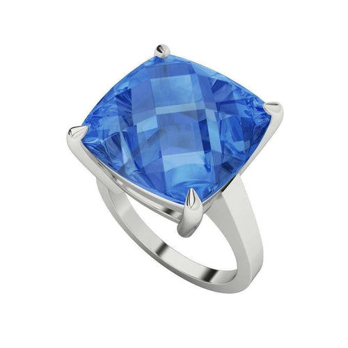 Blue Topaz Cushion Checkerboard Sterling Silver Ring-StyleRocks-JewelStreet EU