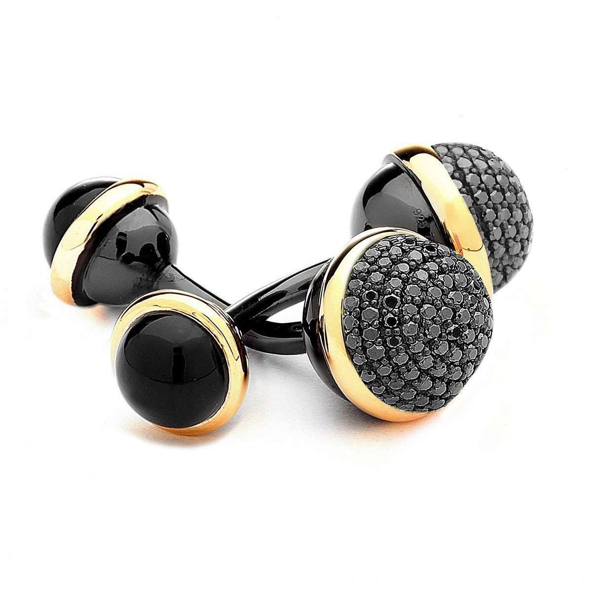 Syna 18kt 925 Yellow Diamonds and Black Onyx Cufflinks MyizJ6YWif