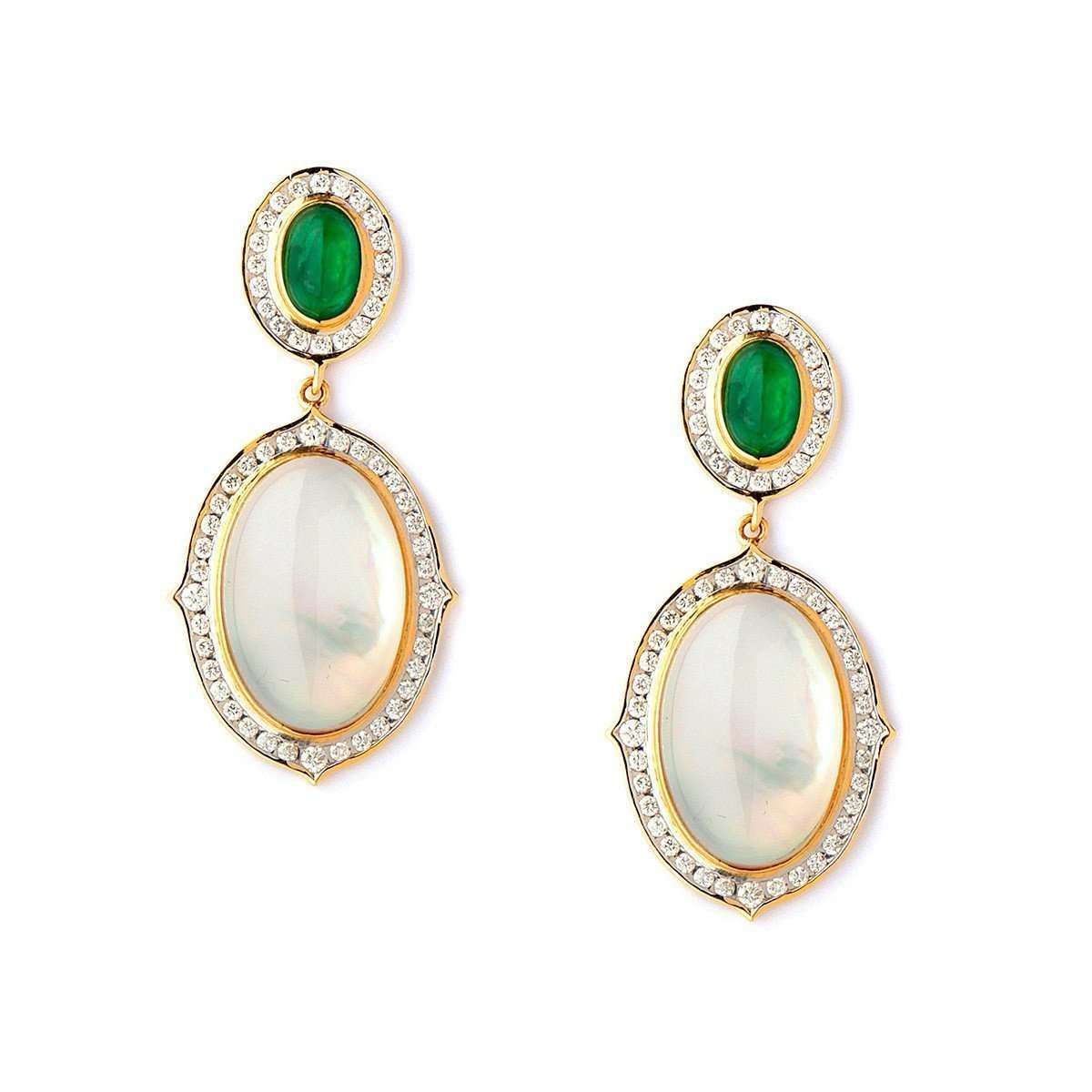 18kt Moon Quartz & Emerald Earrings With Diamonds-Syna-JewelStreet EU