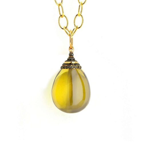 18kt Lemon Quartz Drop Necklace With Black Diamonds-Syna-JewelStreet EU