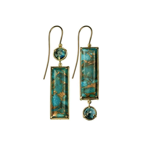18kt Gold Turquoise Topaz Earrings-Xanthe Marina-JewelStreet EU