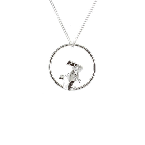 Sterling Silver Rabbit Circle Origami Necklace