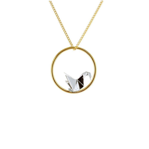 Gold & Sterling Silver Swan Circle Origami Necklace