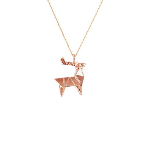 Sterling Silver & Pink Gold Mini Deer Origami Necklace
