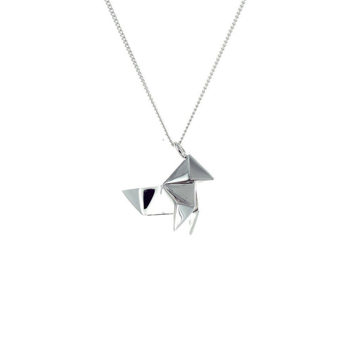 Sterling Silver Mini Cuckoo Origami Necklace