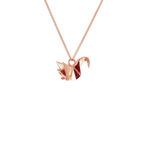 Sterling Silver & Pink Gold Mini Swan Origami Necklace