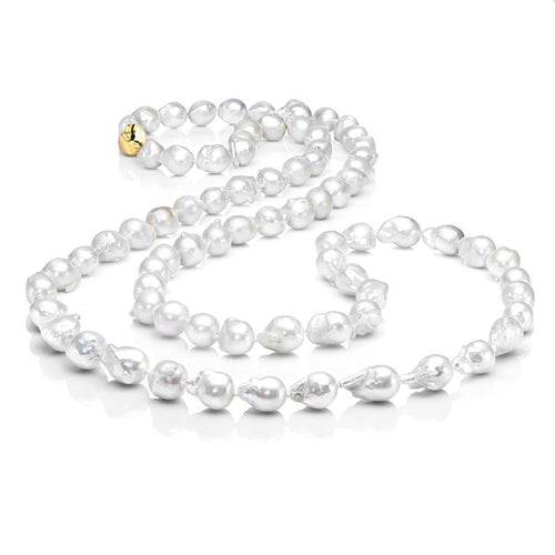 Les Trois Corniches Large White Baroque Freshwater Pearl Necklace - Gold Clasp  ,[product vendor],JewelStreet