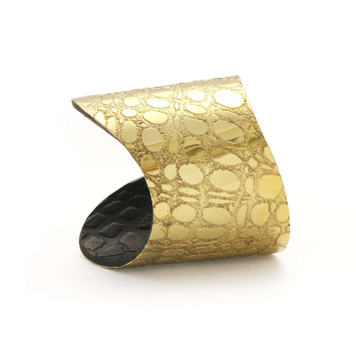 Gold & Black Etched Metal and Leather 'Skin' Cuff-Sara Gunn-JewelStreet EU