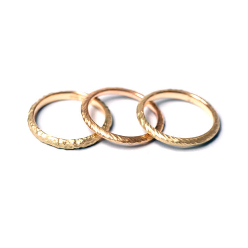 9kt Gold Textured Stacking Rings ,[product vendor],JewelStreet