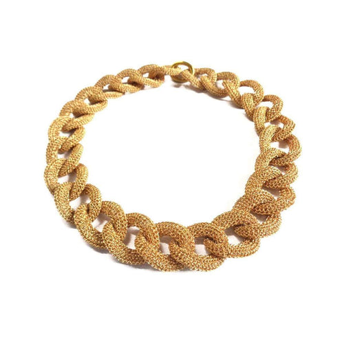 Goddess Sun Link Twist  18kt Gold Necklace ,[product vendor],JewelStreet EU