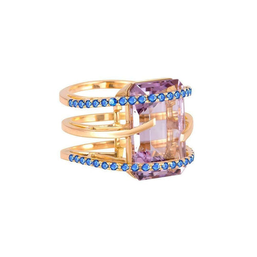 Helena Pink Amethyst Ring with Blue Sapphire Accent ,[product vendor],JewelStreet EU