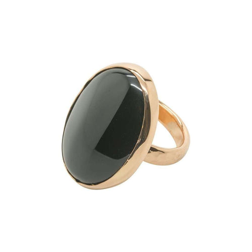 Rose Gold and Onyx Victoriana Ring-Purnell-JewelStreet EU