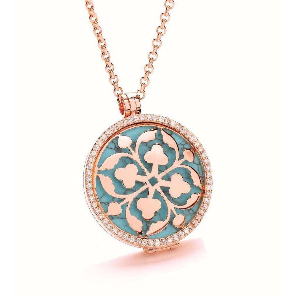 Alternative Rose Gold Cubic Zirconia 32mm Locket