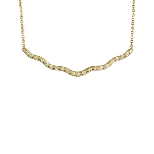 Yellow Gold Wave Diamond Necklace ,[product vendor],JewelStreet EU