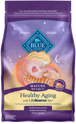 Blue Buffalo BLUE Healthy Aging Chicken and Brown Rice Recipe Dry Food for Mature Cats