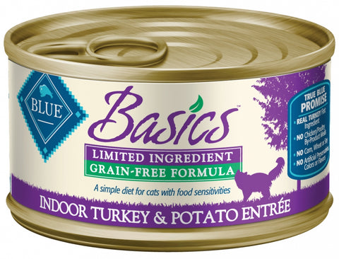 Blue Buffalo BLUE Basics Grain Free Indoor Turkey and Potato Entree Canned Cat Food