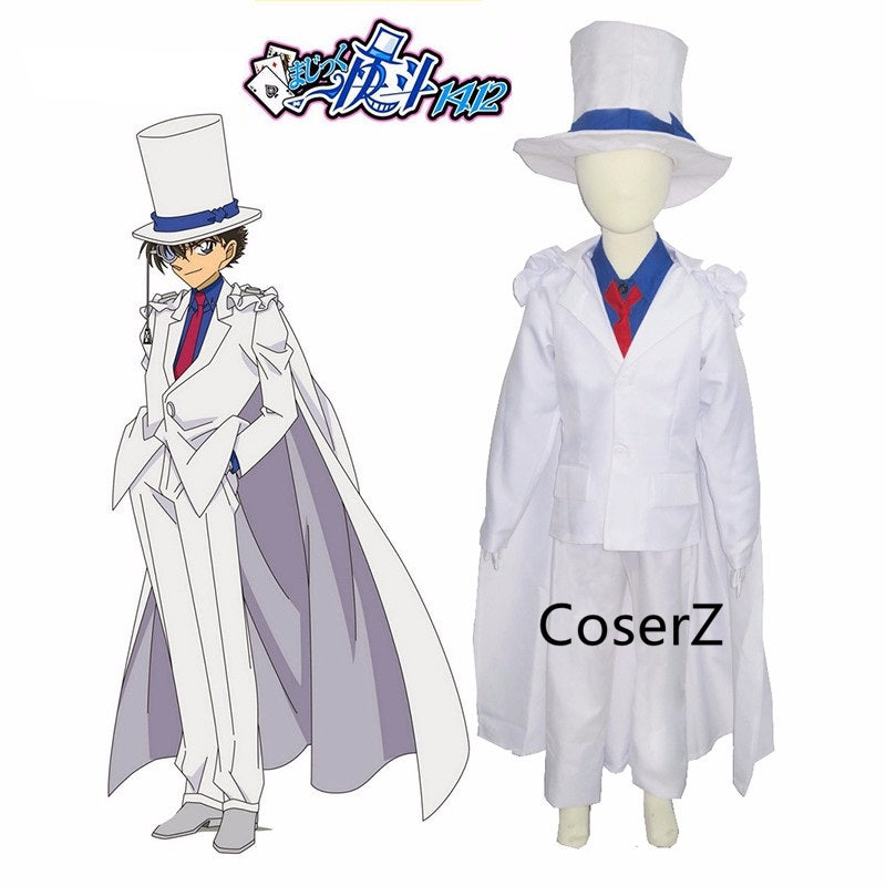 Detective Conan Kaito Kid Gentleman Thief White Suit for kids Cosplay Costume