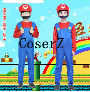 Super Mario Luigi Brothers Plumber  Party Costume Cosplay