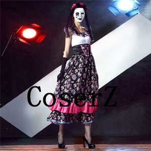 Corpse Bride Day of Dead Cosplay Long Skull Flapper Dress Cosplay Costume